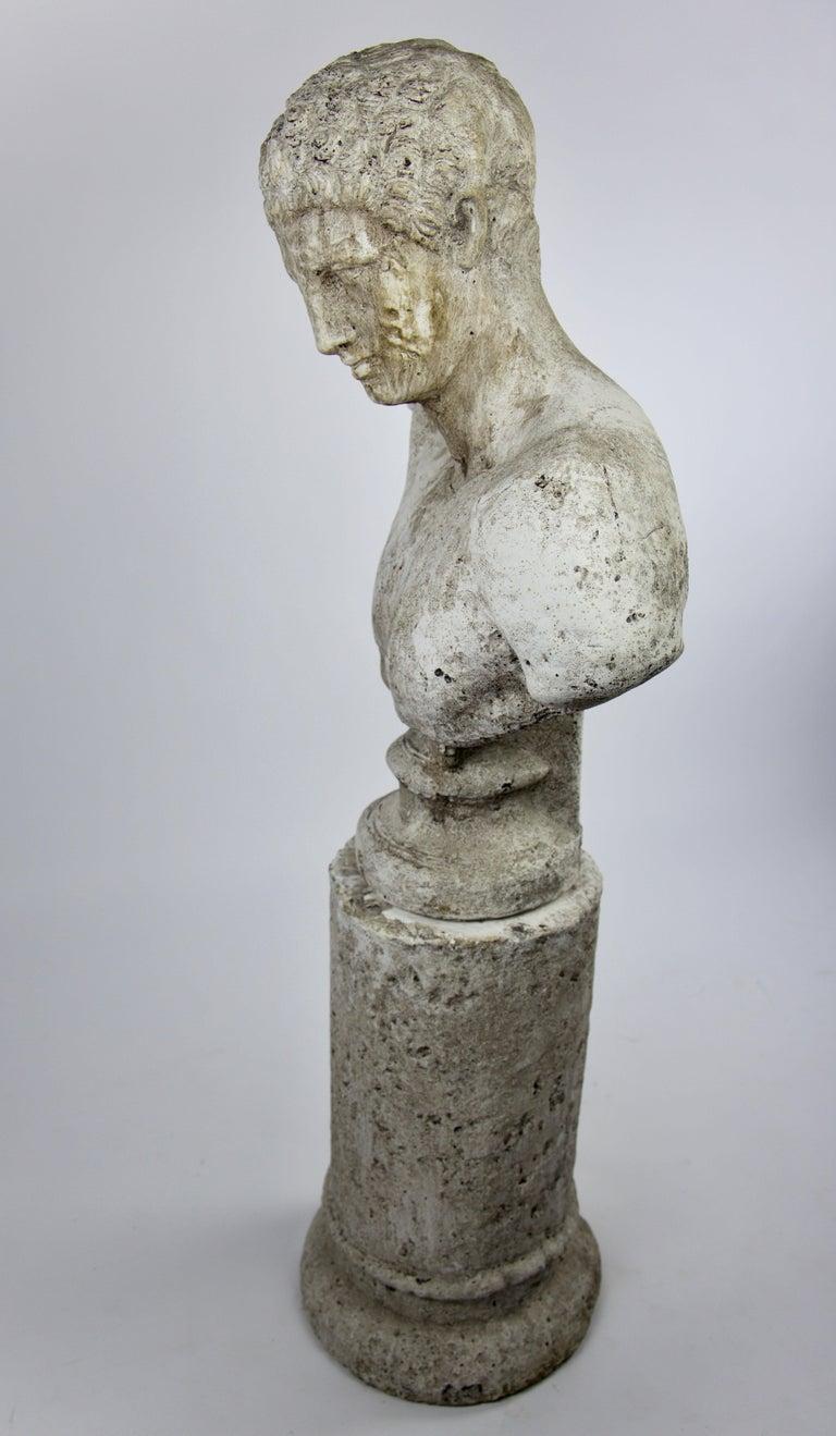 Italian Vintage Cast Stone Bust of Hermes on Cast Stone Pedestal For Sale