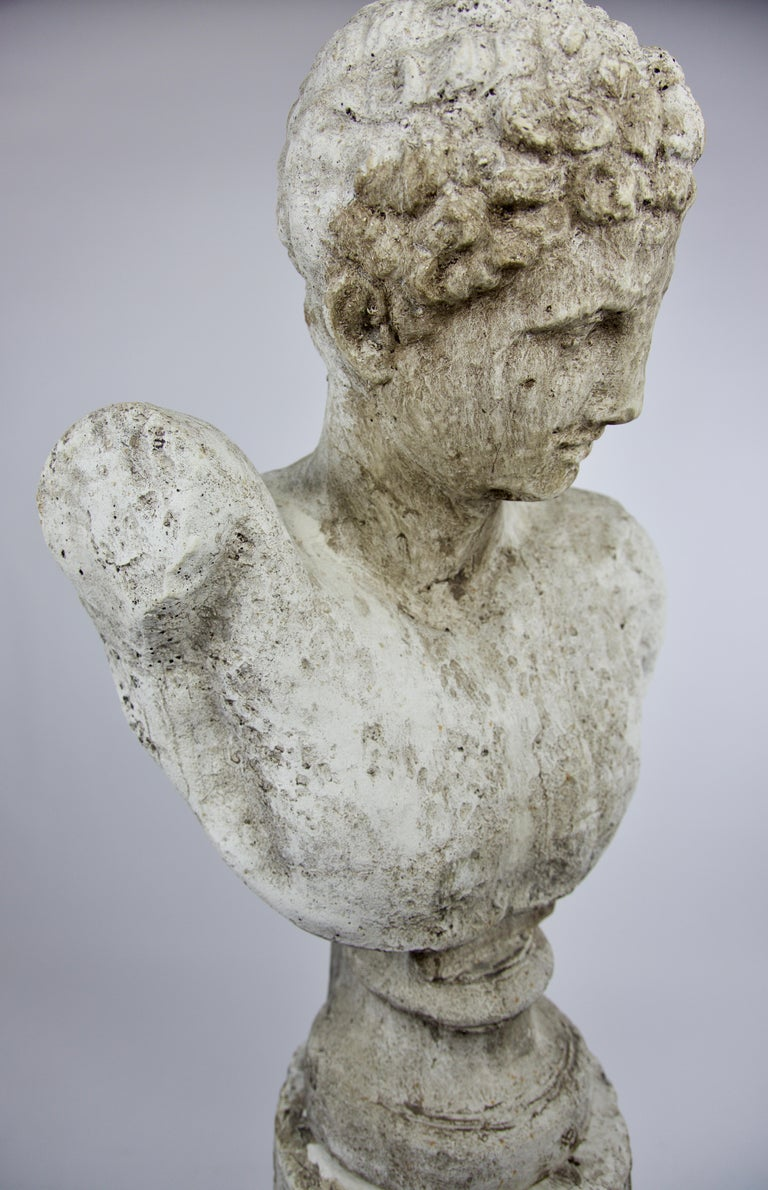 20th Century Vintage Cast Stone Bust of Hermes on Cast Stone Pedestal For Sale
