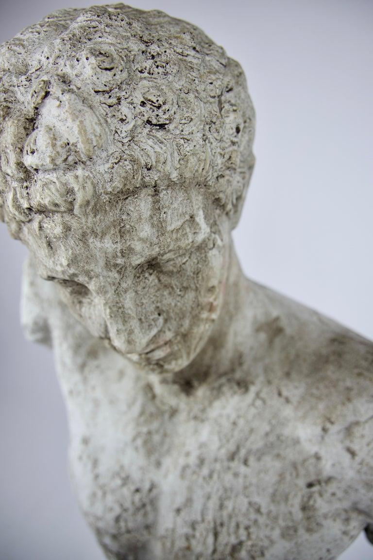 Vintage Cast Stone Bust of Hermes on Cast Stone Pedestal For Sale 1