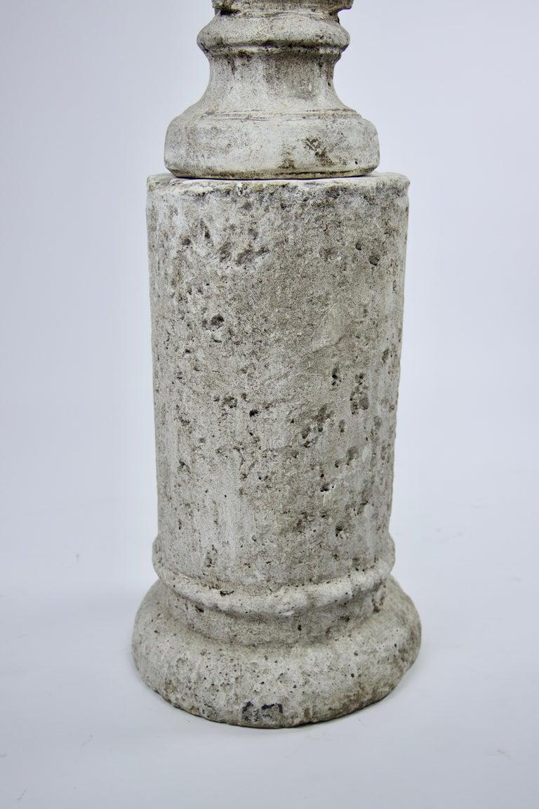 Vintage Cast Stone Bust of Hermes on Cast Stone Pedestal For Sale 2