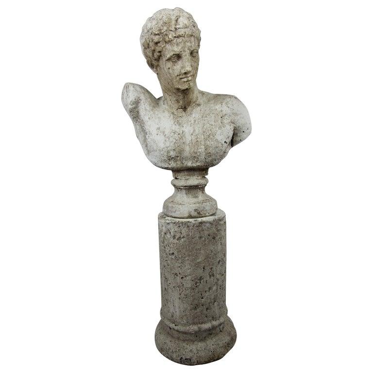 Vintage Cast Stone Bust of Hermes on Cast Stone Pedestal For Sale