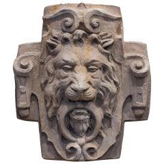 Vintage Cast Stone Lion Plaque
