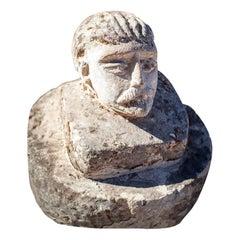 Vintage limestone Male Head Avec Une Moustache