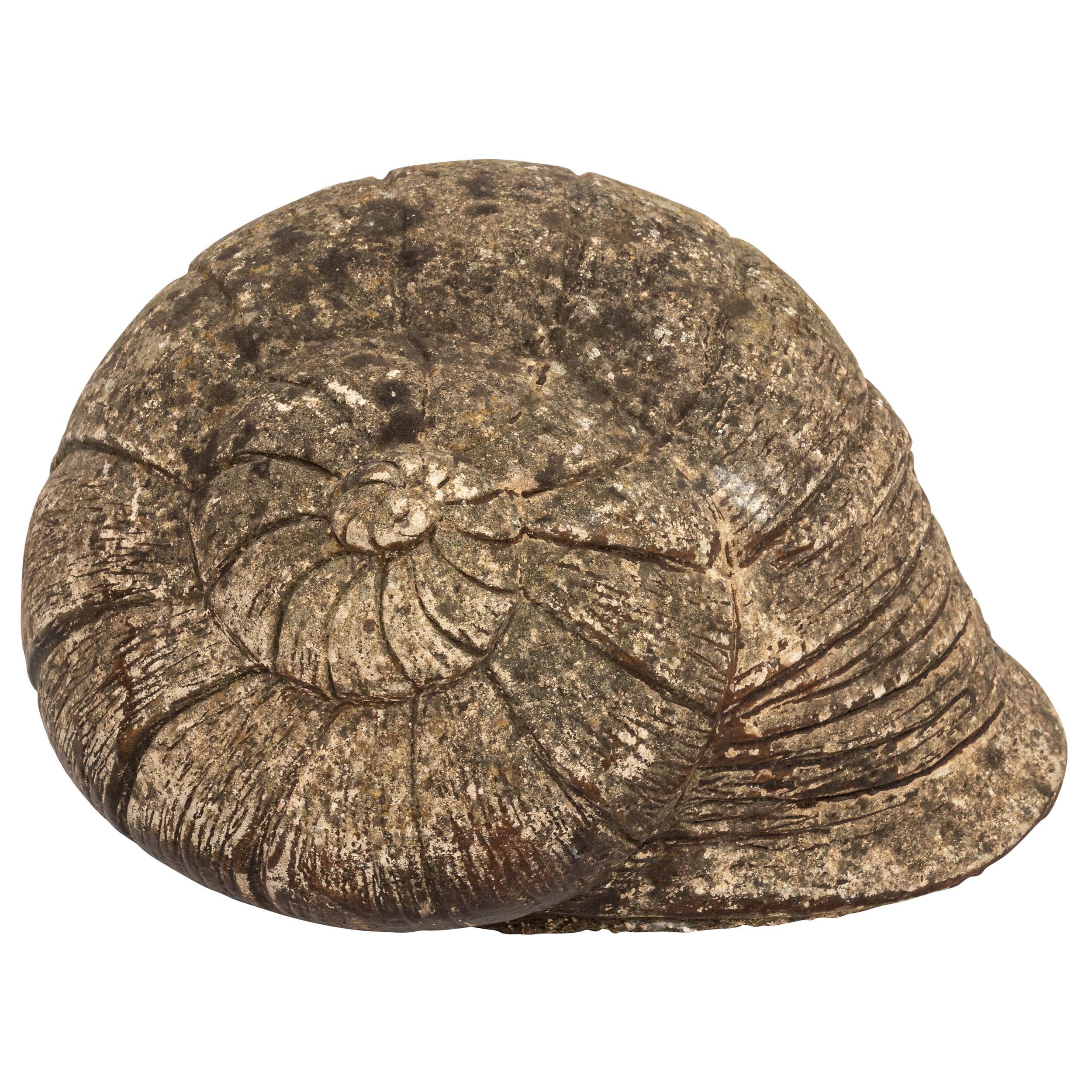 Vintage Cast Stone Snail Shell Garden Ornament