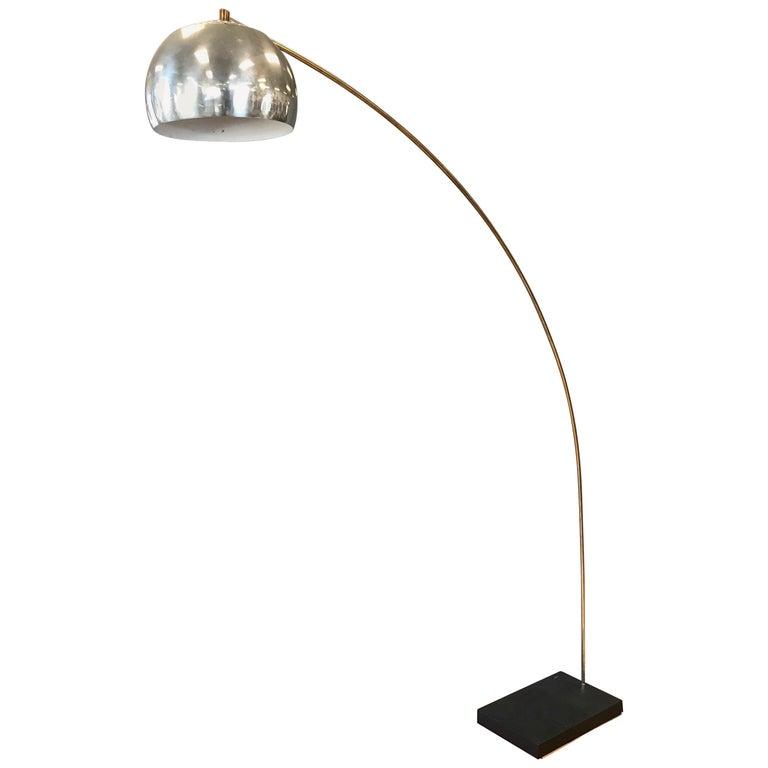 vintage castiglioni style extra large brass and chrome arc floor lamp at 1stdibs. Black Bedroom Furniture Sets. Home Design Ideas