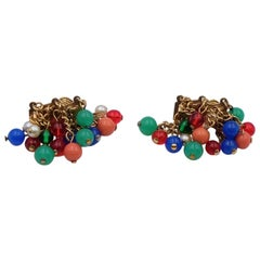 Vintage CastleCliff Color Beads Earrings 1960's