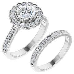 Vintage Cathedral Halo Diamond Wedding Ring 14 Karat White Gold 3.01 Carat