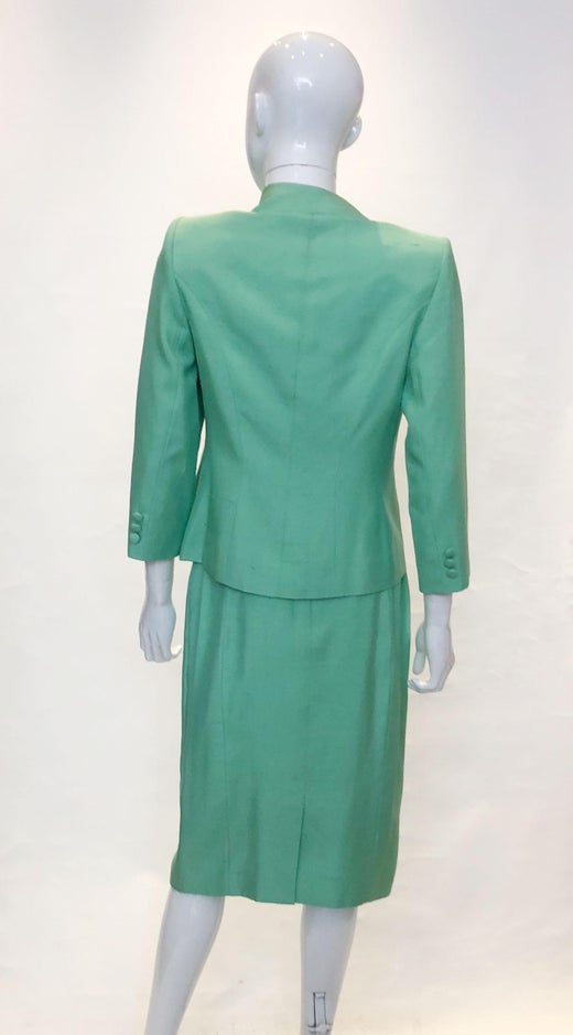 A Vintage 1970s Catherine Walker Green Silk Skirt Suit