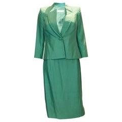 Vintage Catherine Walker Green Silk Skirt Suit
