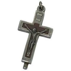 Vintage Catholic Reliquary Box Crucifix Pendant with Relics of Saints