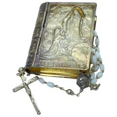 Vintage Catholic Rosary in Silver Tin Box from Lourdes, France