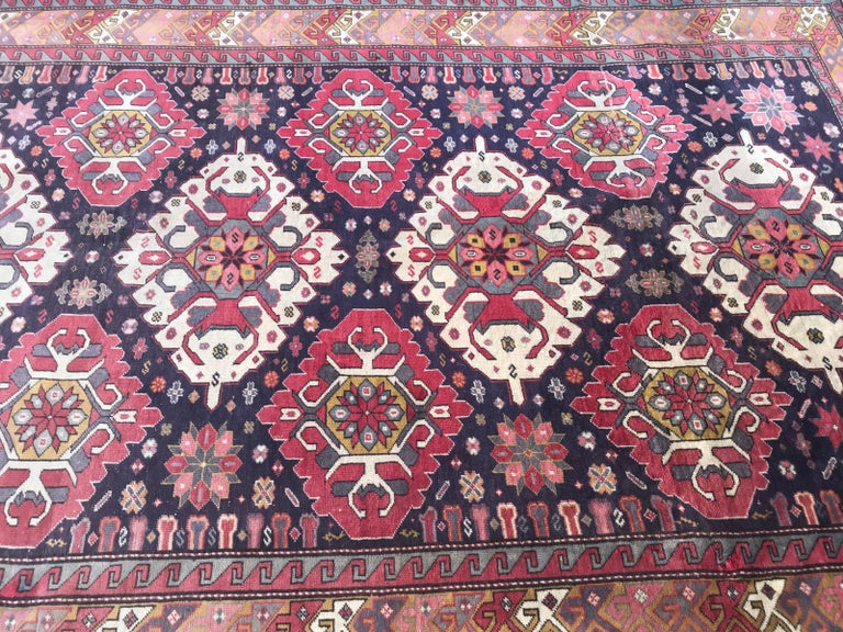 Wool Vintage Caucasian Azerbaijan Rug For Sale
