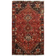 Vintage Caucasian Azerbaijan Tribal Rug, 1970 Traditional Red Wool Large Rug