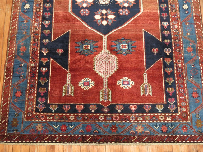 Hand-Knotted Vintage Caucasian Kazak Rug For Sale