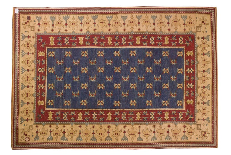 This is one of the few rugs made in a southern area of the Caucasus in the 1970s. The laboratories were in a village in the mountains: their wools were very beautiful, with vegetable colors; very accurate knotting; not many specimen. They have a
