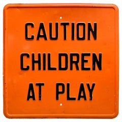 Vintage 'Caution - Children at Play' Metal Road Sign
