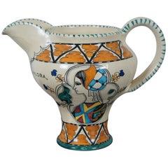 Vintage Cecconi Orvieto Italian Ceramic Ice Lip Pitcher Jug Ristorante Ancora
