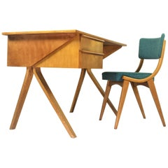 Vintage Cees Braakman EB02 Birch Pastoe Desk with Birch Dutch Chair