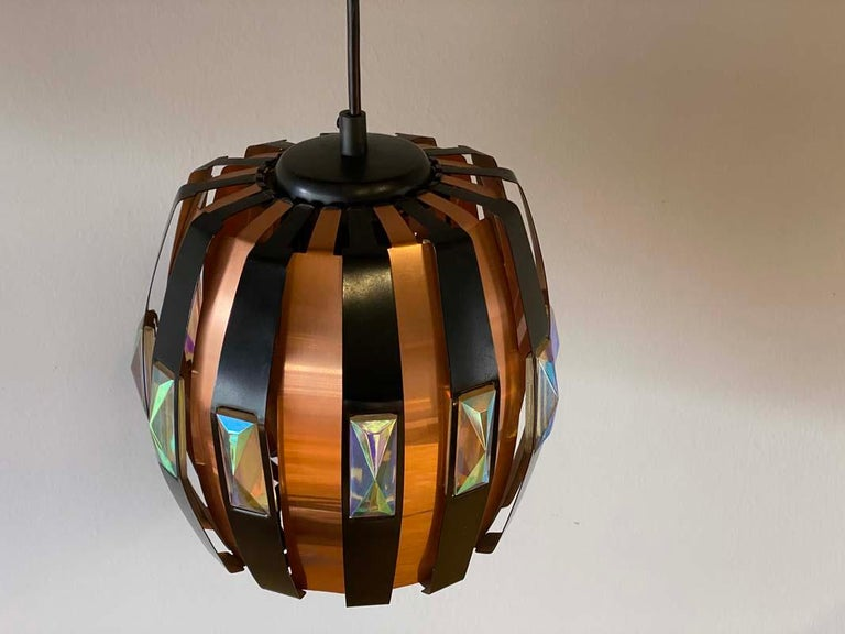 Vintage Ceiling Lamp Copper Pendant with Prisms by Verner Schou for Coronell, 19 For Sale 4