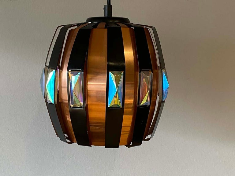 Vintage Ceiling Lamp Copper Pendant with Prisms by Verner Schou for Coronell, 19 For Sale 5