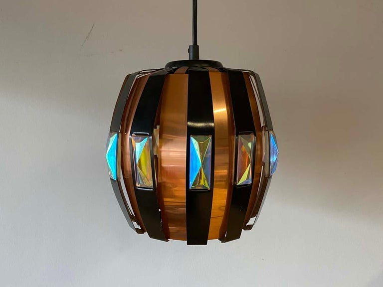 Vintage Ceiling Lamp Copper Pendant with Prisms by Verner Schou for Coronell, 19 For Sale 6