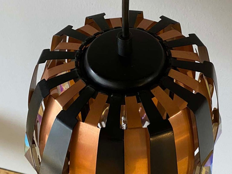 Late 20th Century Vintage Ceiling Lamp Copper Pendant with Prisms by Verner Schou for Coronell, 19 For Sale