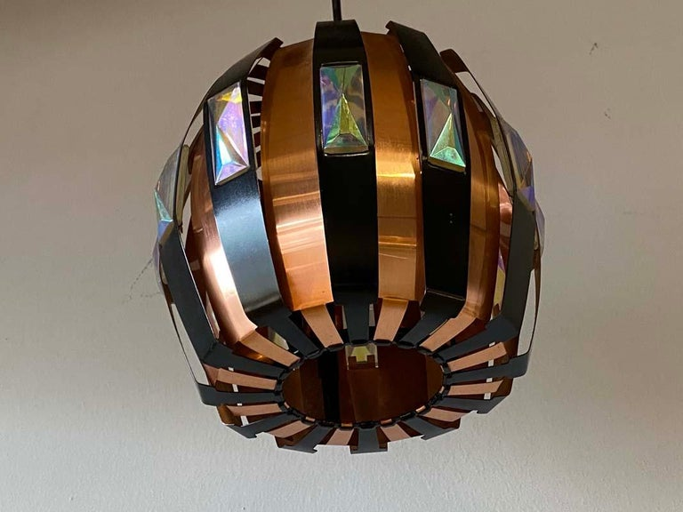 Vintage Ceiling Lamp Copper Pendant with Prisms by Verner Schou for Coronell, 19 For Sale 2