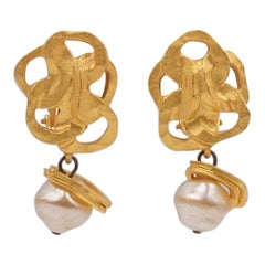 Vintage Celice France Clip-on Earrings With Faux Pearls 1930's