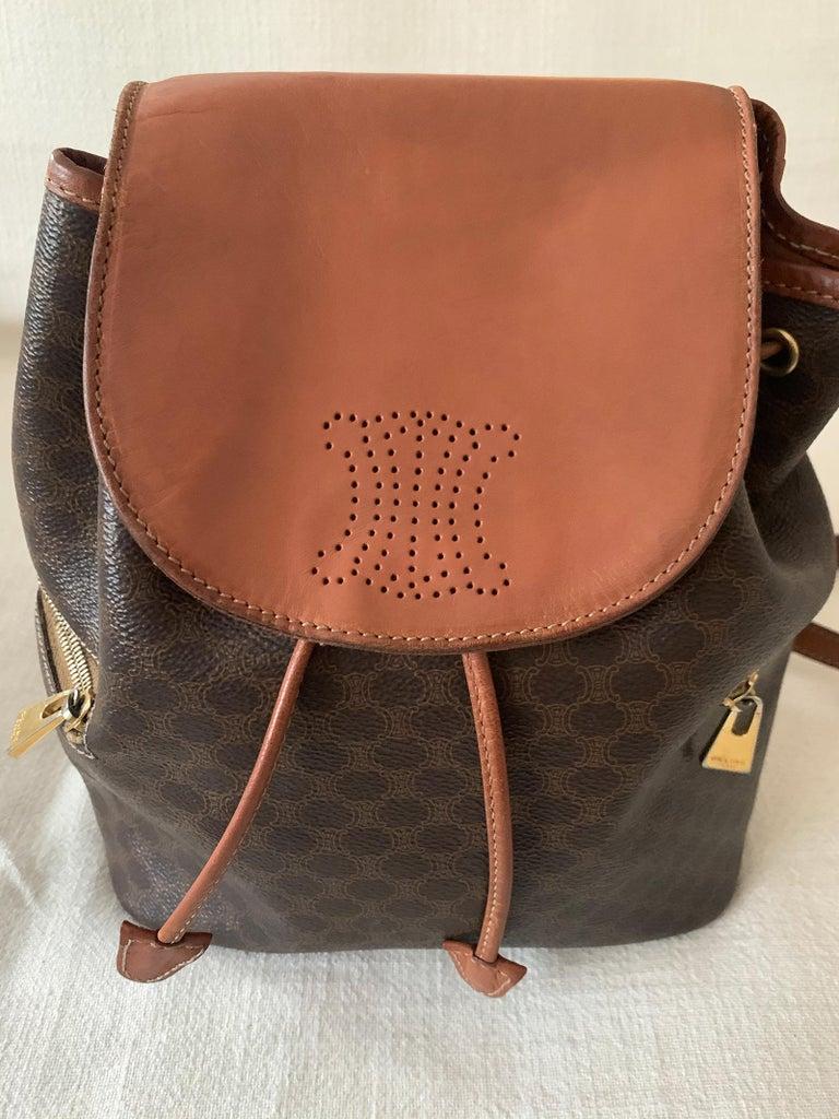 Brown Vintage Celine Backpack Macadam  For Sale