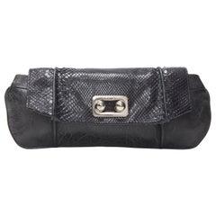 vintage CELINE black scaled leather flap silver ball buckle long clutch bag