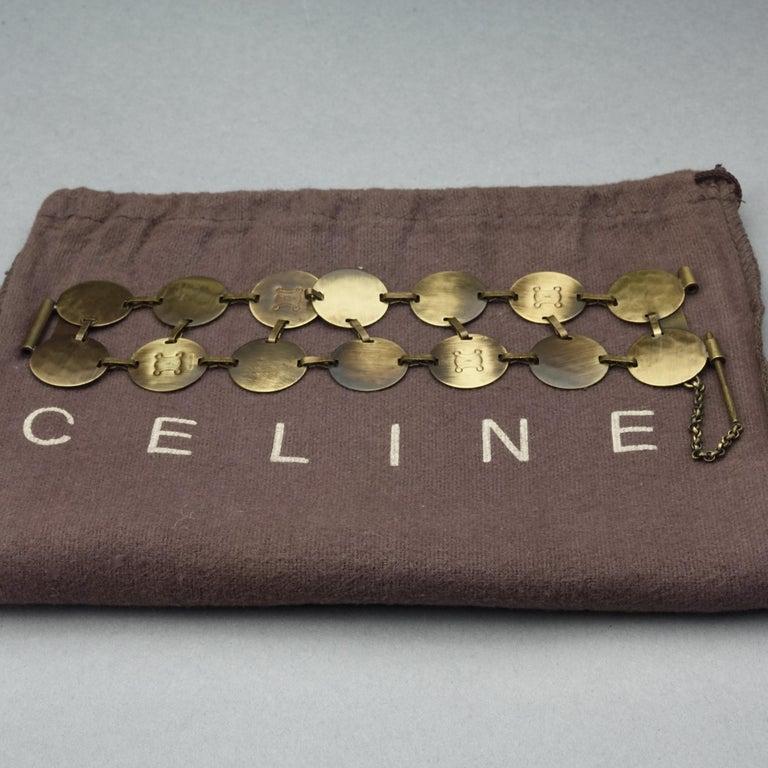 Vintage CELINE Blazon Logo Disc Coin Link Bracelet In Good Condition For Sale In Kingersheim, Alsace
