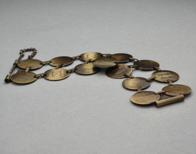 Women's Vintage CELINE Blazon Logo Disc Coin Link Bracelet For Sale