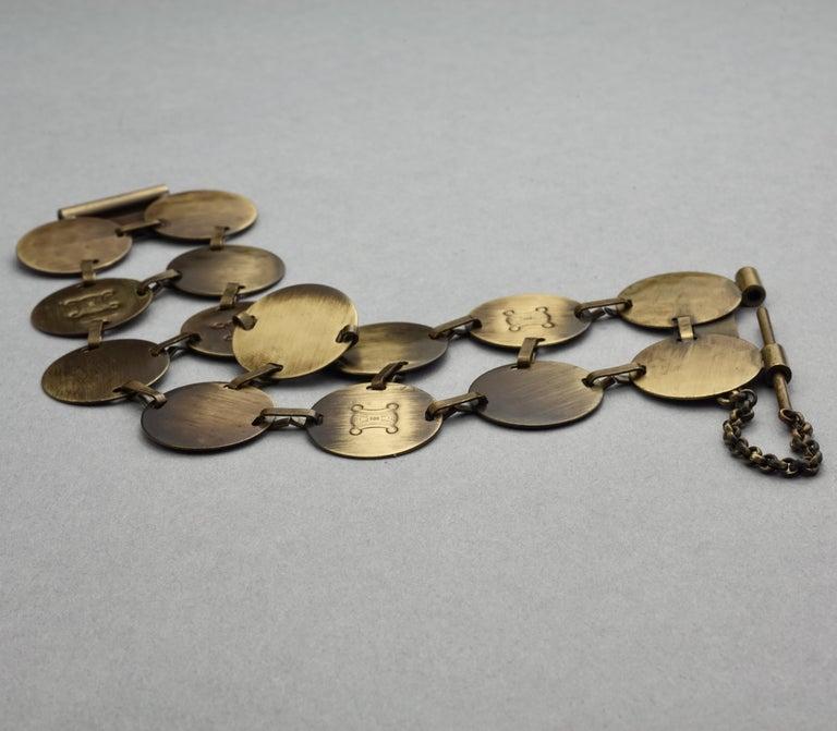 Vintage CELINE Blazon Logo Disc Coin Link Bracelet For Sale 1