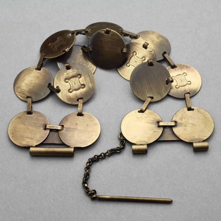 Vintage CELINE Blazon Logo Disc Coin Link Bracelet For Sale 2