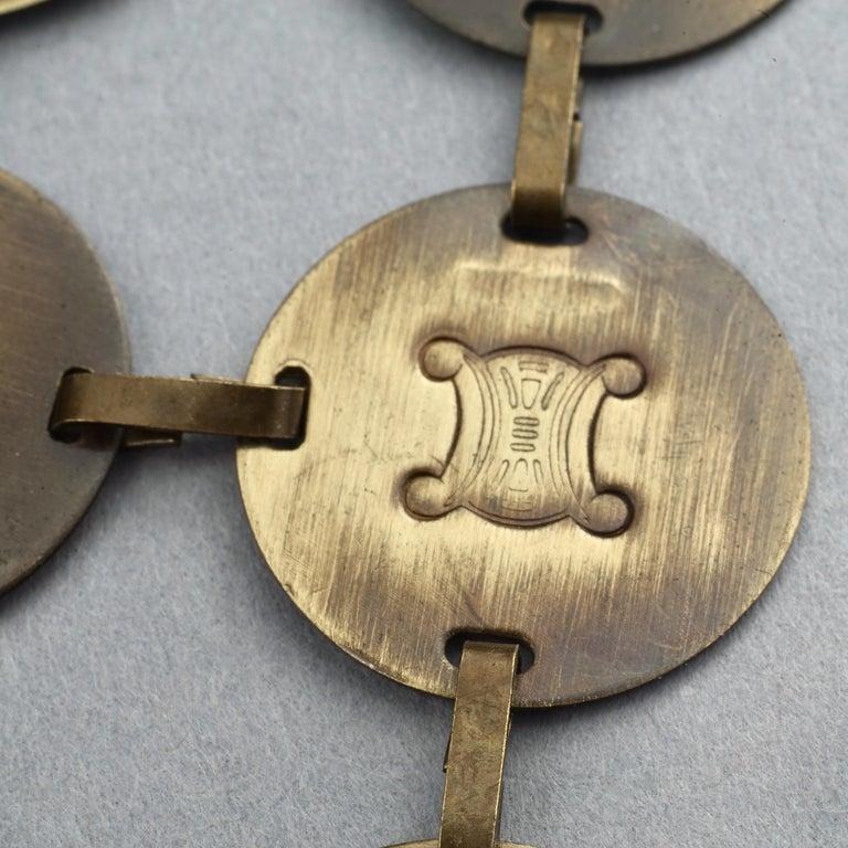 Vintage CELINE Blazon Logo Disc Coin Link Bracelet For Sale 4