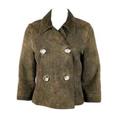 Vintage CELINE Brown Suede Animal Print Blazer Jacket Size 42