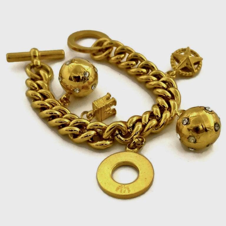Vintage CELINE Iconic Charm Chain Bracelet For Sale 1