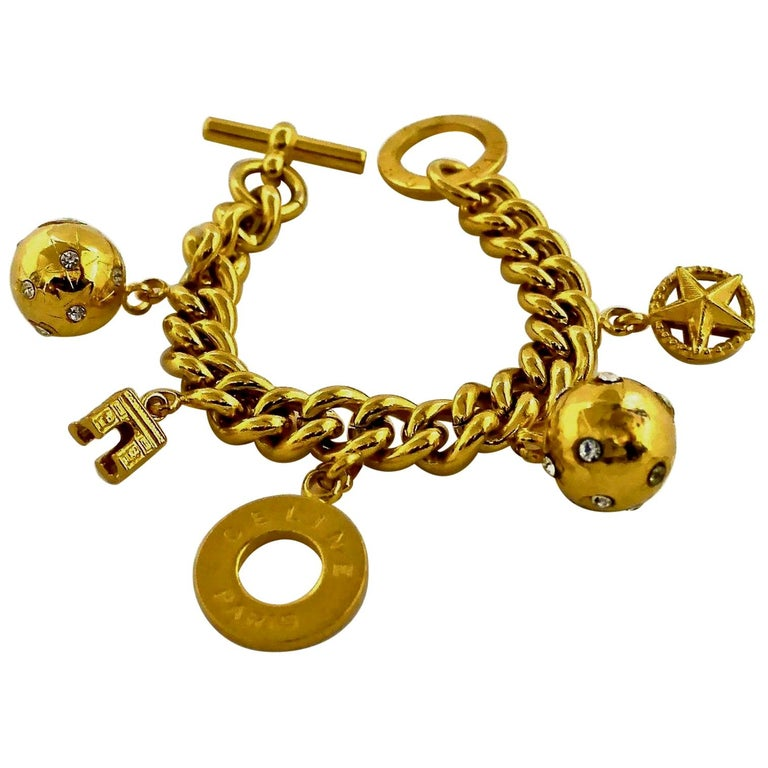 Vintage CELINE Iconic Charm Chain Bracelet For Sale