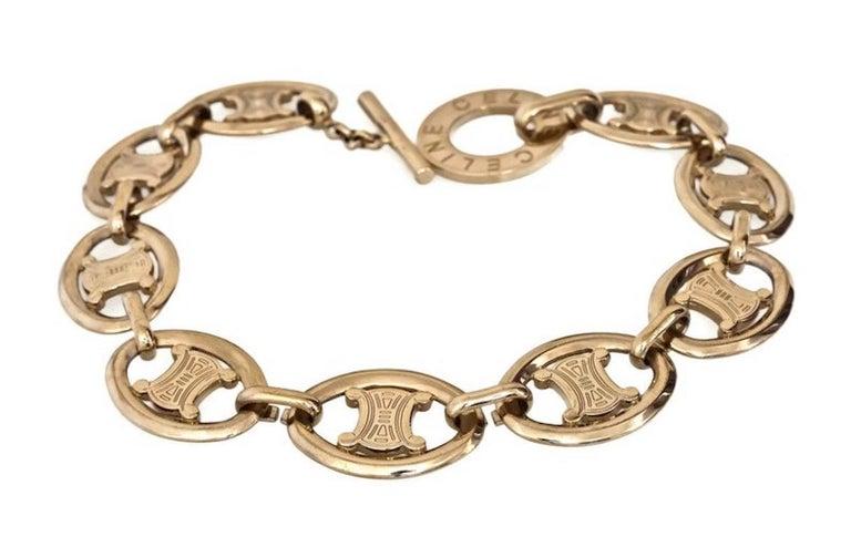 Vintage CELINE Iconic Logo link Necklace In Excellent Condition For Sale In Kingersheim, Alsace