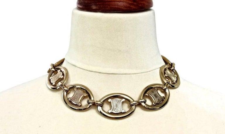Vintage CELINE Iconic Logo link Necklace For Sale 2