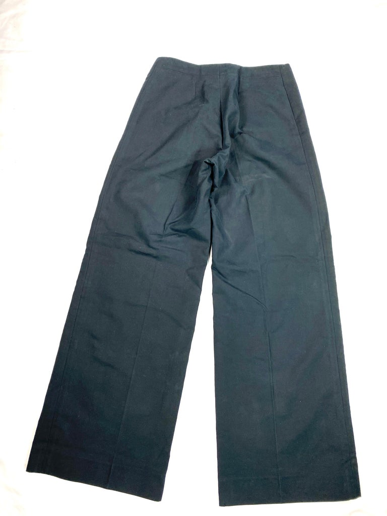 Vintage Celine Navy Cotton Wide Leg Pants Size 40 For Sale 2