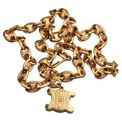 Vintage CELINE PARIS Arc de Triomphe Logo Chain Link Necklace Belt
