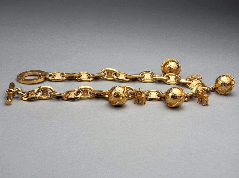Women's Vintage CELINE PARIS Iconic Arc de Triomphe Planet Charms Choker Necklace For Sale