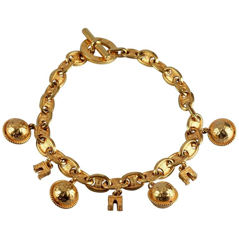 Vintage CELINE PARIS Iconic Arc de Triomphe Planet Charms Choker Necklace For Sale