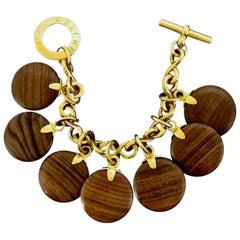 Vintage CELINE PARIS Medallion Wood Charm Bracelet
