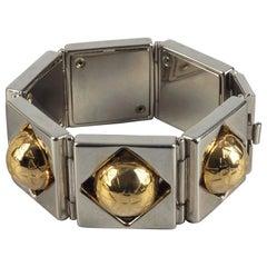 Vintage CELINE PARIS Planet Two Tone Link Bracelet