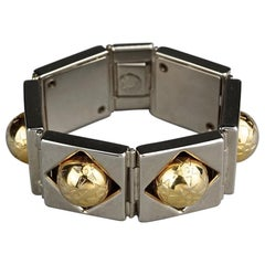 Vintage CELINE PARIS Planisphere Geometric Link Bracelet