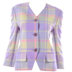 Vintage Celine Paris Purple Yellow Plaid Wool Blazer Made in France