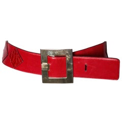 Vintage Celine Red Leather Belt