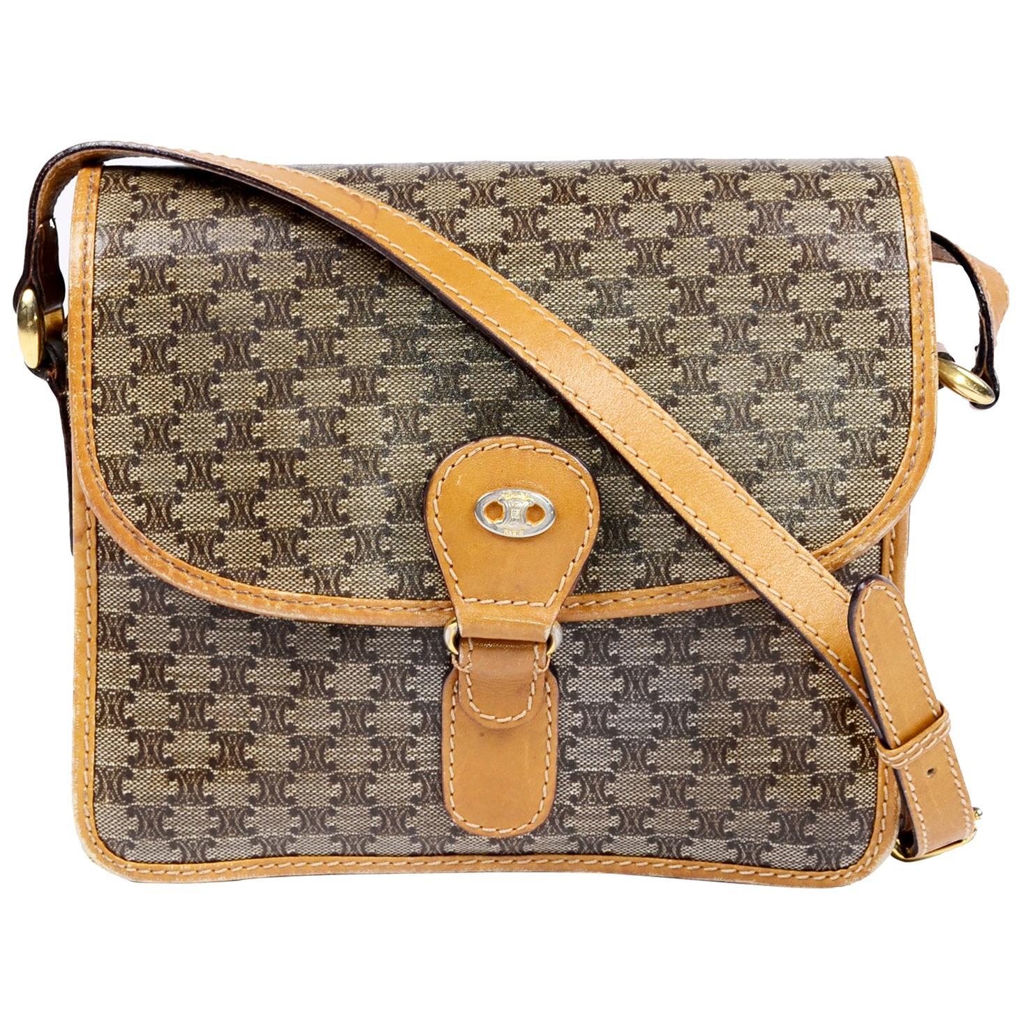 Vintage Celine Shoulder Bag Tan Monogram Logo Handbag w/ Leather Trim